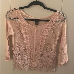 Wet Seal Pink lace top, XS